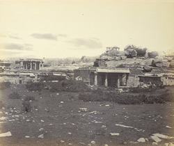 Ruins of Vijianuggur [Vijayanagara] near Humpee [Hampi]. General view of ruined porches